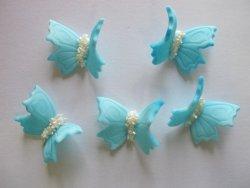 Motylki cukrowe na tort średnie niebieskie 3D 5szt