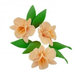 Zestaw cukrowe kwiaty na tort STORCZYK z listkami HERBACIANY