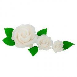 Zestaw cukrowe kwiaty na tort 3 RÓŻE z listkami BIAŁE