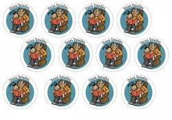 Opłatki waflowe na muffinki Dzień Dziadka 6cm 12szt v1