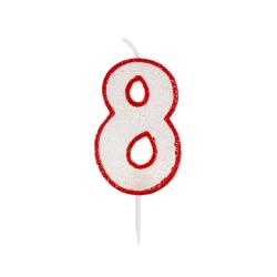 Świeczka urodzinowa na tort cyfra z brokatem 8