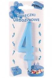 Niebieska świeczka urodzinowa na tort cyfra 4
