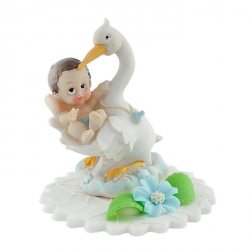 Hokus - Chłopczyk w objęciach bociana - dekoracja na chrzest