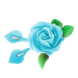 Zestaw cukrowe kwiaty RÓŻA MAX + KALIE z listkami NIEBIESKIE