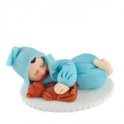 Figurka na tort BOBAS Z MISIEM chrzest baby shower niebieski
