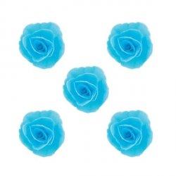 Róża chińska waflowa na tort mała (4,5cm) niebieska 5szt