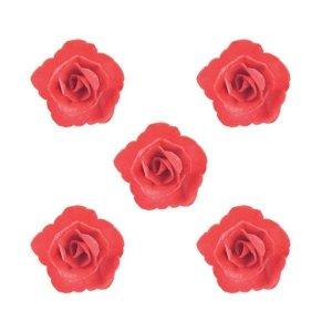 Róża chińska waflowa na tort mała (4,5cm) czerwona 5szt