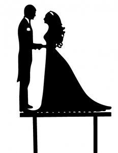 Dekoracja na tort ślubny topper PARA MŁODA czarny