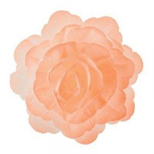 Róża chińska waflowa na tort duża (7cm) łososiowa 15szt