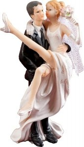 Figurka na tort ślub PARA MŁODA Z PODNIESIONĄ NOGĄ