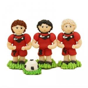 Figurki cukrowe na tort 3x PIŁKARZ + piłka czerwony