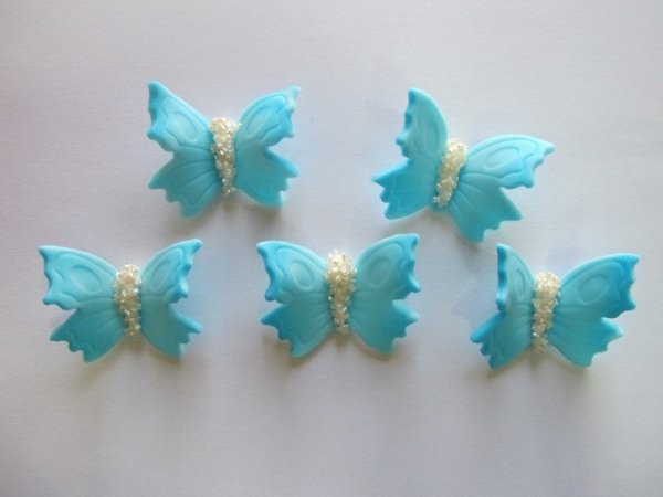 Motylki cukrowe na tort duże niebieskie 3D 5szt