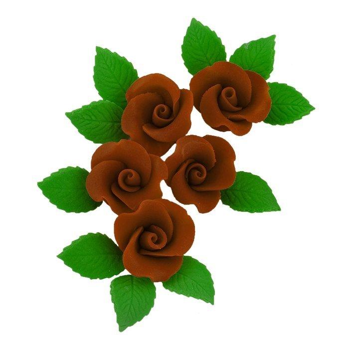 Zestaw cukrowe kwiaty 5x RÓŻA MAŁA z listkami CZEKOLADOWA