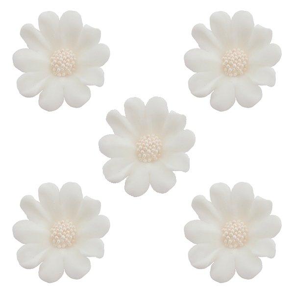Kwiatki cukrowe na tort STOKROTKA 5szt białe