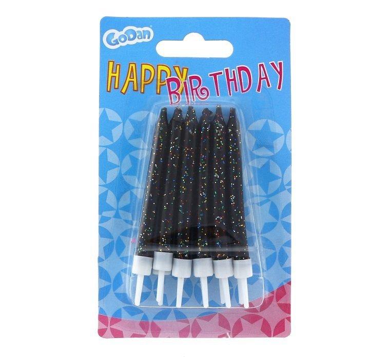 Świeczki urodzinowe na tort BROKATOWE czarne 12szt