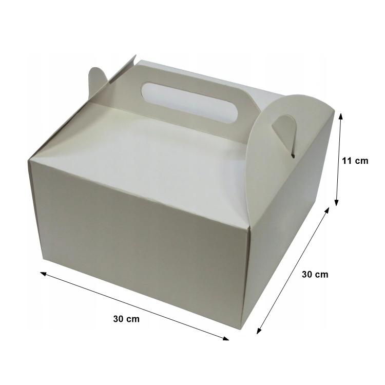 Pudełka kartonowe na tort ciasto z rączką 30x30X11cm - 10szt
