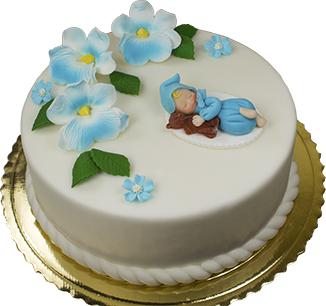 Hokus - Cukrowy bobas z misiem - dekoracja tortu na chrzest