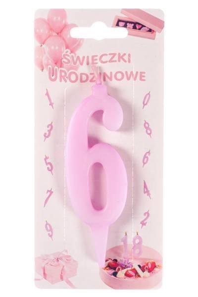 Różowa świeczka urodzinowa na tort cyfra 6