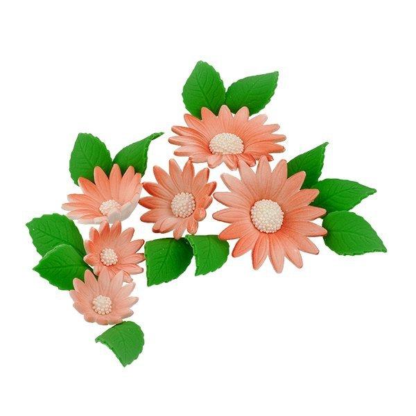 Zestaw cukrowe kwiaty na tort RUMIANEK z listkami ŁOSOSIOWY