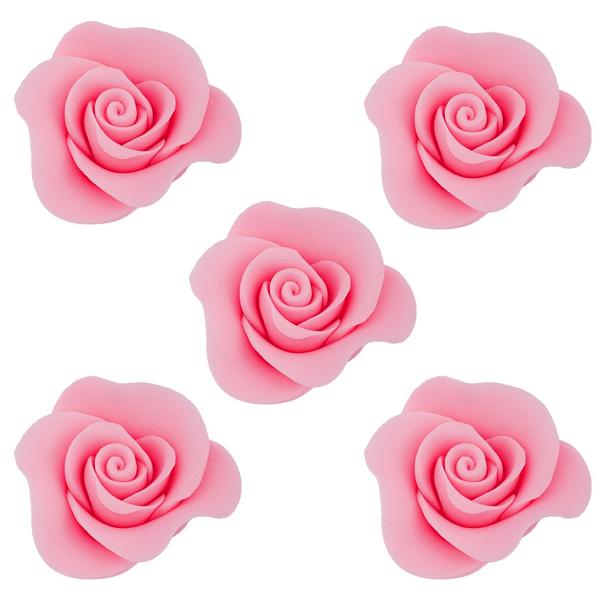 Cukrowe kwiaty na tort RÓŻA MINI MAX 20szt RÓŻOWY