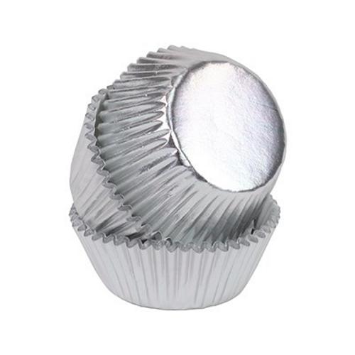 Metaliczne MINI papilotki na muffinki 35mm SREBRNE 45szt