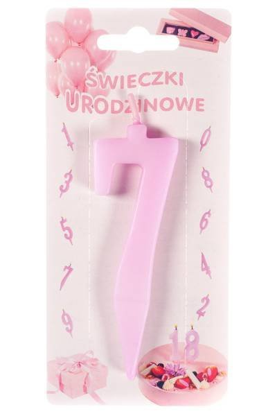 Różowa świeczka urodzinowa na tort cyfra 7