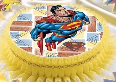 Kardasis - opłatek na tort okrągły Superman Rakieta