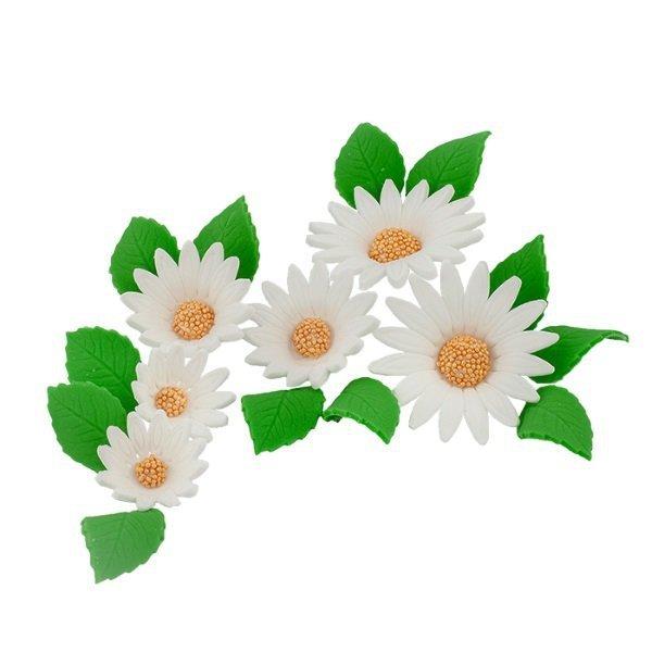 Zestaw cukrowe kwiaty na tort RUMIANEK z listkami BIAŁY