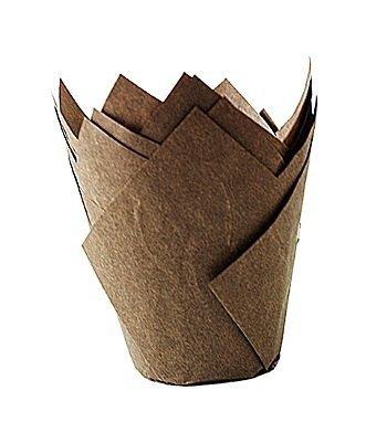 Papilotki na muffinki TULIPAN brązowe 50 szt