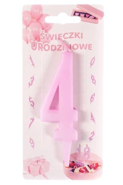 Różowa świeczka urodzinowa na tort cyfra 4