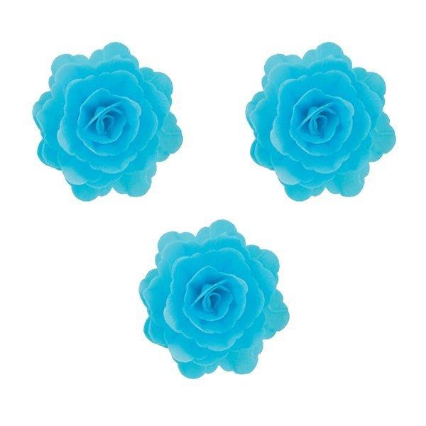 Róża chińska waflowa na tort duża (7cm) niebieska 3szt