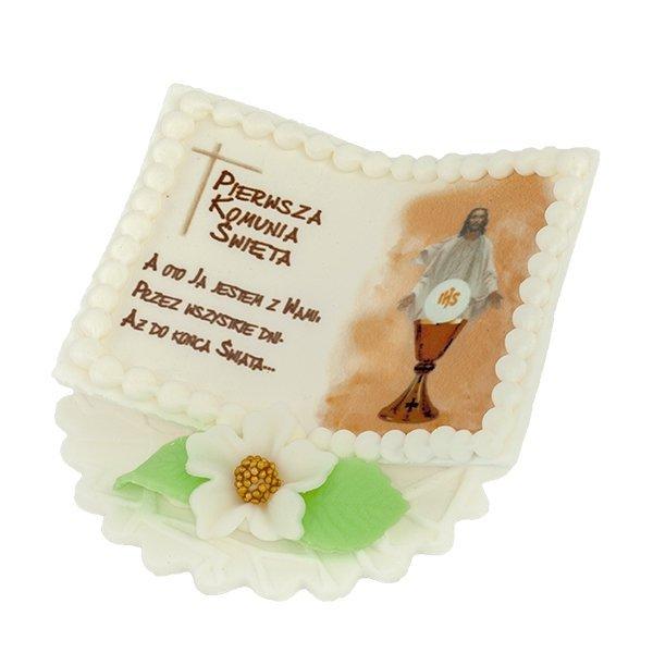 Dekoracja cukrowa na tort KSIĄŻECZKA Z JEZUSEM komunia