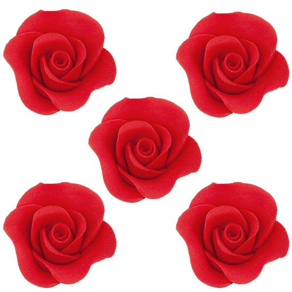Cukrowe kwiaty na tort RÓŻA MINI MAX 20szt CZERWONY