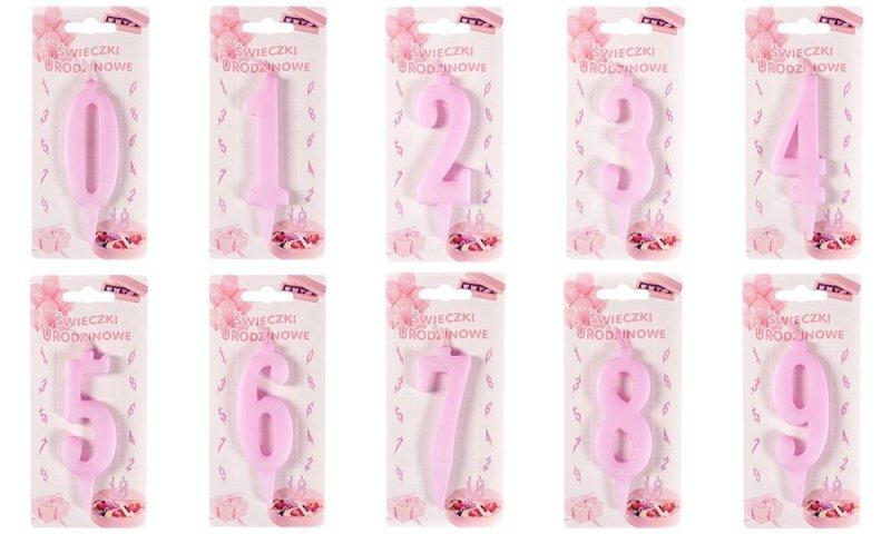 Różowa świeczka urodzinowa na tort cyfra 1