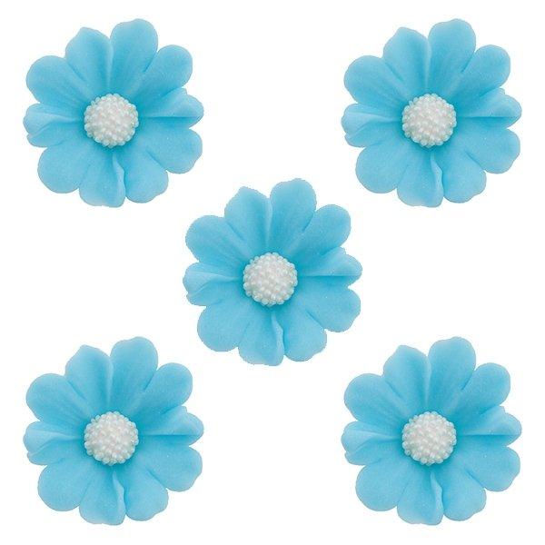 Kwiatki cukrowe na tort STOKROTKA 5szt niebieskie