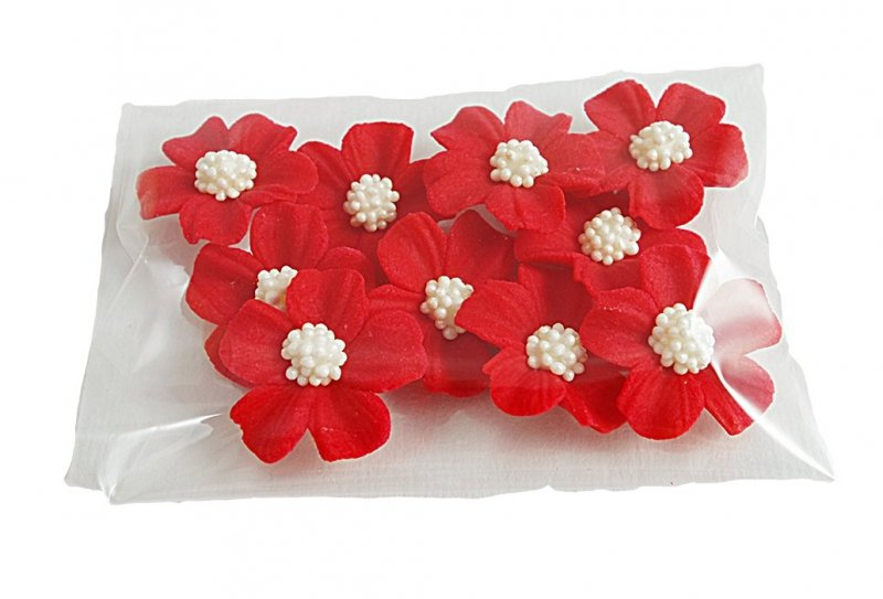 Niezapominajka kwiaty cukrowe 10szt czerwone