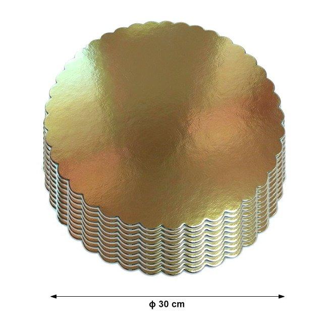 Podkład pod tort gruby złoty karbowany śr. 30cm - 10szt