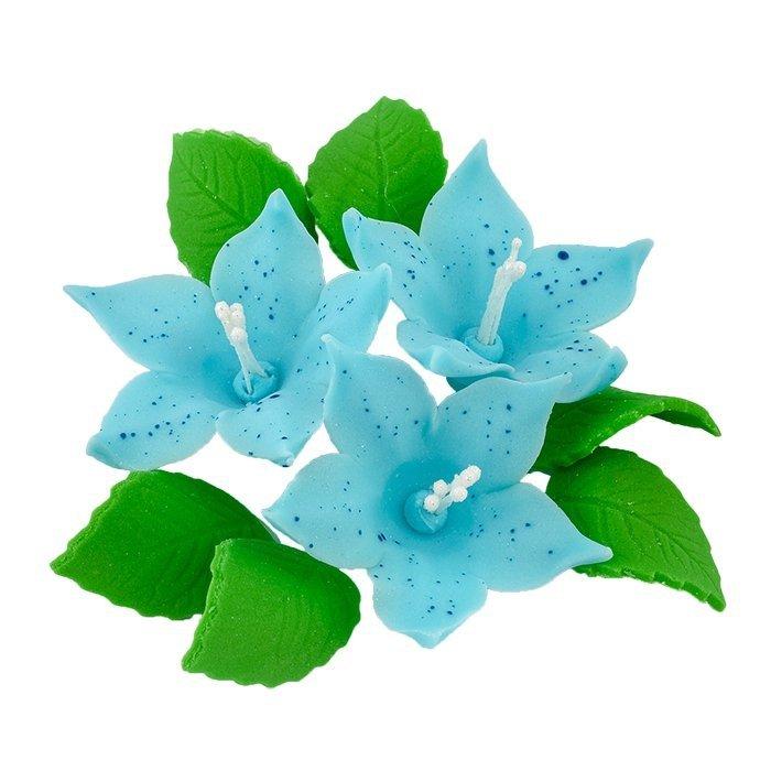 Zestaw cukrowe kwiaty na tort LILIJKA z listkami NIEBIESKA