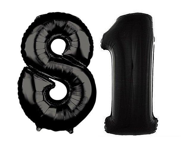 Balony foliowe - czarne - cyfry 1 i 8