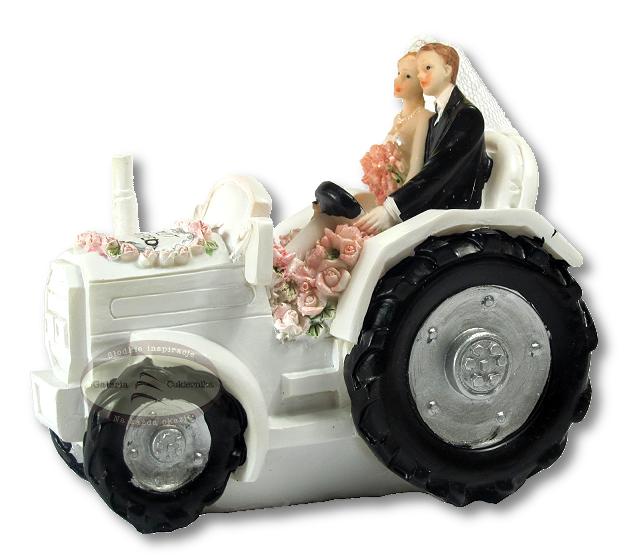 Figurka SKARBONKA na tort ślub PARA MŁODA na traktorze