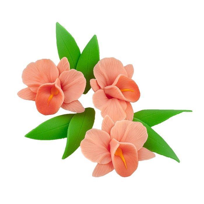 Zestaw cukrowe kwiaty na tort STORCZYK z listkami ŁOSOSIOWY