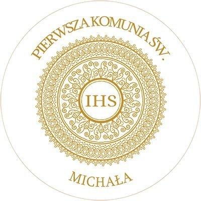 Opłatek waflowy okrągły na tort KOMUNIA IHS IMIĘ 20cm