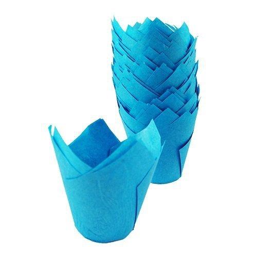 Papilotki na muffinki TULIPAN niebieskie 50 szt