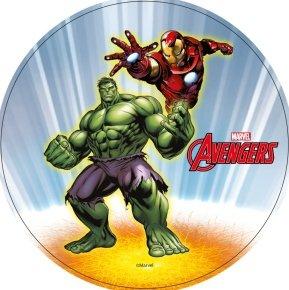 Opłatek na tort AVENGERS Iron Man & Hulk