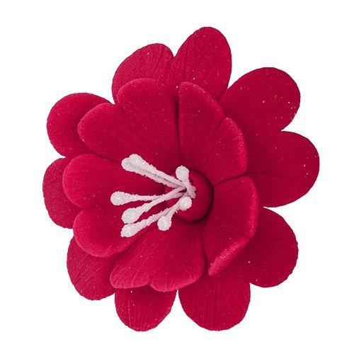 FUKSJA kwiat cukrowy na tort 6,5cm CIEMNY RÓŻ 8szt