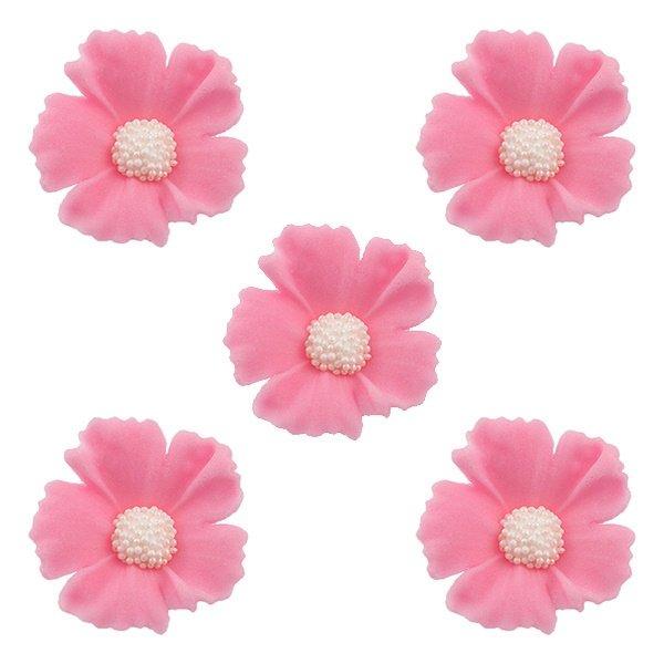 Duże kwiaty cukrowe na tort CHABER 5szt różowe