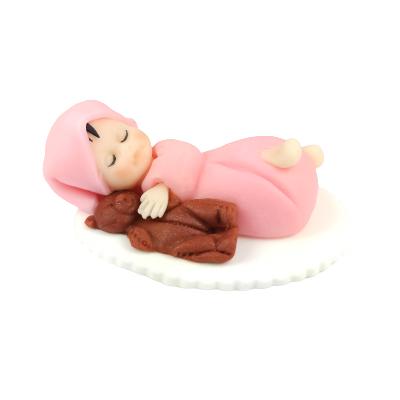 Figurka cukrowa na tort BOBAS Z MISIEM chrzest RÓŻOWY