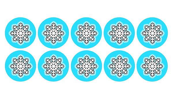 Opłatki waflowe na muffinki ŚNIEŻYNKI płatki śniegu 3cm 10szt N