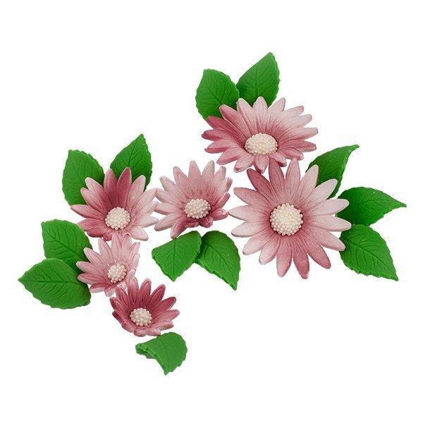 Zestaw cukrowe kwiaty na tort RUMIANEK z listkami WRZOSOWY