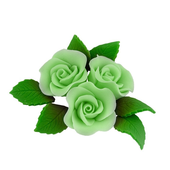 Zestaw cukrowe kwiaty na tort 3 ŚREDNIE RÓŻE z listkami ZIELONY